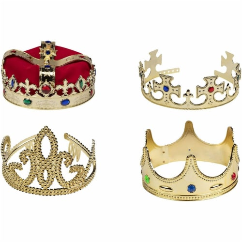 4x Gold Crown Royal King Queen Jeweled Halloween Costume Accessory, Party Hat Perspective: front