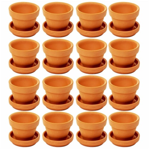 Juvale Small Terra Cotta Pots with Saucer- 16-Pack Clay Flower Pots with Saucers Perspective: front