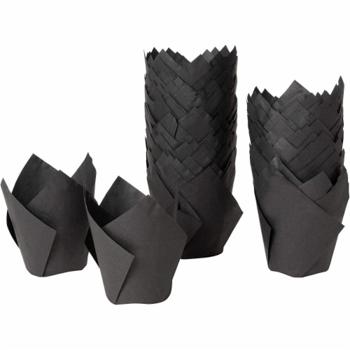 100-Pack Cupcake Muffin Liners Baking Cups for Weddings Baby Showers, Black Perspective: front