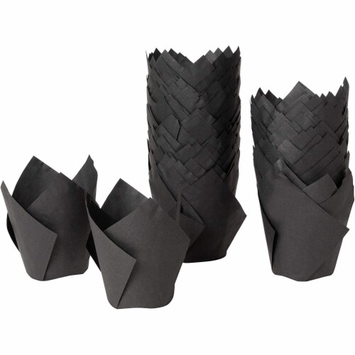 100-Pack Black Paper Tulip Cupcake Liners, Muffin Baking Cups Perspective: front