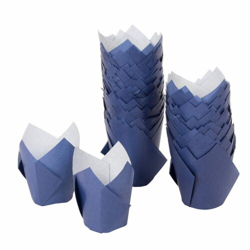 100-Pack Navy Blue Paper Tulip Cupcake Liners, Muffin Wrappers, Baking Cups Perspective: front