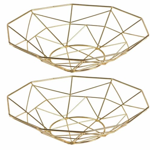 2 Pcs Wire Fruit Basket, Modern Metallic Gold Fruit Bowl with Geometric Design Perspective: front