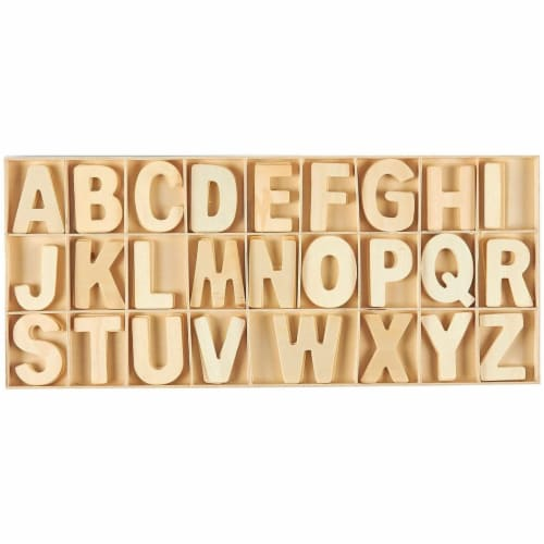 104 Piece Set Wooden Letters with Storage Tray - 4 Piece Each Letter, Natural Perspective: front
