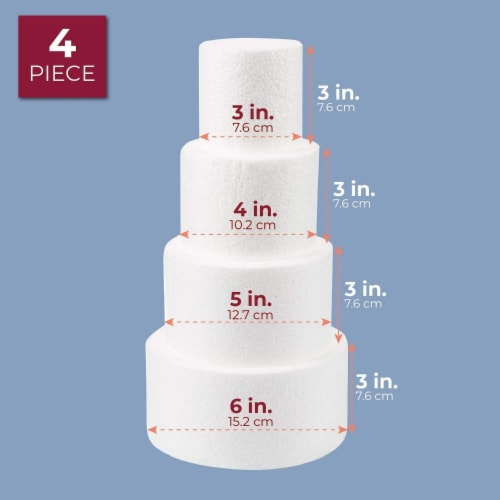 Cake Foam Dummies, 3-6 Inch Cake Dummy (12 Inches, 4 Pieces) Perspective: front