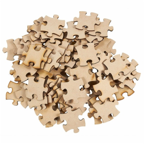 Blank Unfinished Wooden Jigsaw Puzzle (100 Pieces) Perspective: front