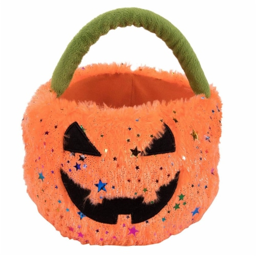 Plush Jack-O-Lantern Pumpkin Basket Bucket, Halloween Trick or Treat Candy Bag Perspective: front