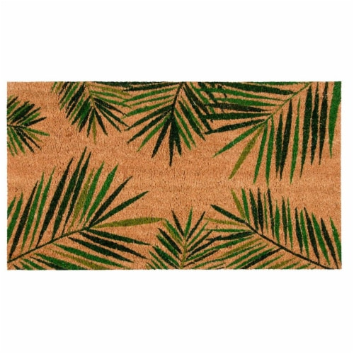 Tropical Green Palm Welcome Mat, Natural Coir Doormat (30 x 17.2 x 0.5 in) Perspective: front