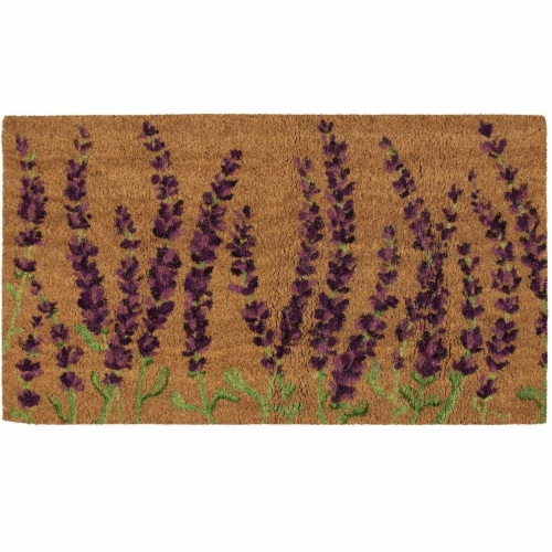 Lavender Plant Welcome Mat, Natural Coir Doormat (30 x 17.2 x 0.5 in) Perspective: front