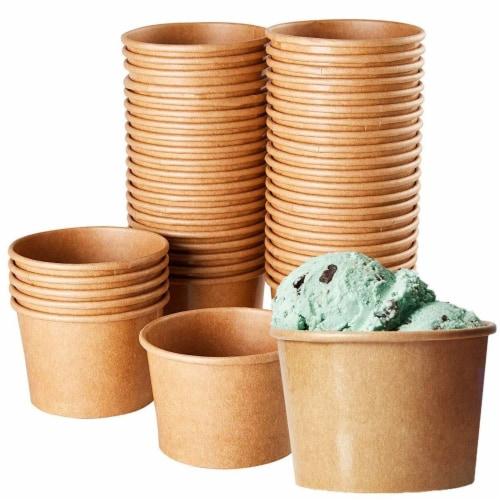 Ice Cream Sundae Cups - 50-Piece Disposable Kraft Paper Dessert Ice Cream Bowls Perspective: front