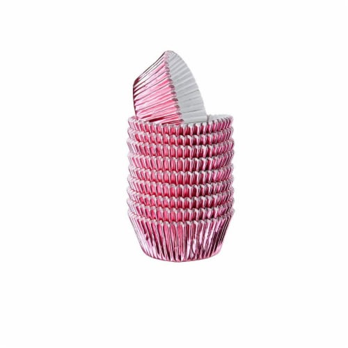 Pink Foil Cupcake Liners, Baking Cups (2 x 1 In, 200-Pack) Perspective: front