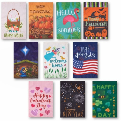10-Pack Garden Flags Banners, Outdoor Lawn, for Thanksgiving, Christmas Perspective: front
