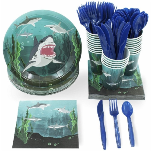Shark Party Bundle Includes Plates, Napkins, Cups, and Cutlery (Serves 24, 144 Pieces) Perspective: front