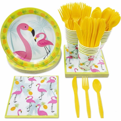 Flamingo Party Bundle Includes Plates, Napkins, Cups, and Cutlery (Serves 24,144 Pieces) Perspective: front