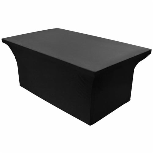Stretch Spandex Fitted Tablecloth Table Cover for 6ft. Rectangular Table Black Perspective: front