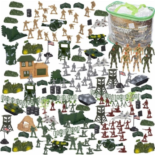 300 Pieces Military Army Men Toys Set For Boys - Including 8pc SWAT Team Action Figures Perspective: front