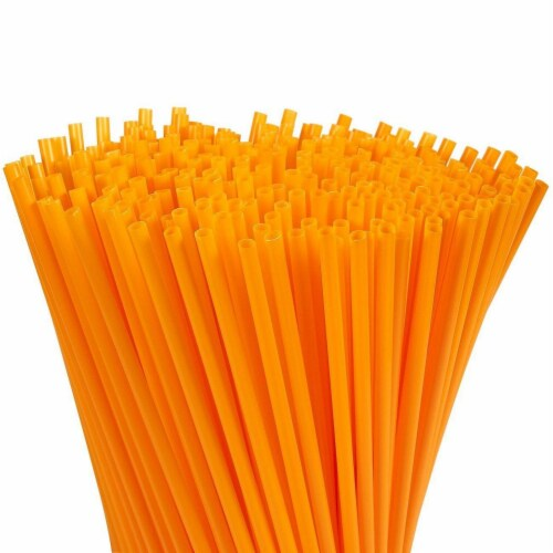 """300ct Plastic Orange Disposable Party Drinking Straws, Extra Long 10"""" Perspective: front"""