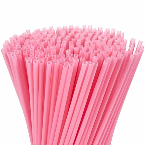 "300ct Plastic Pink Disposable Party Drinking Straws 10"" Perspective: front"