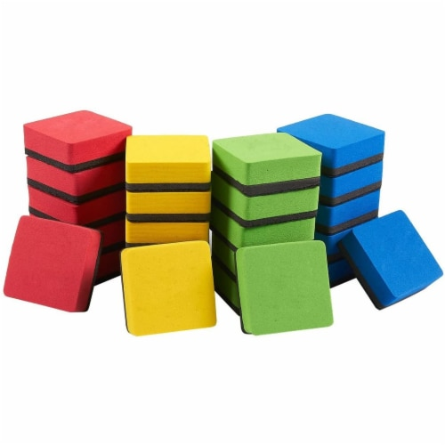 Mini Whiteboard Erasers for Classroom Supplies (4 Colors, 24 Pack) Perspective: front