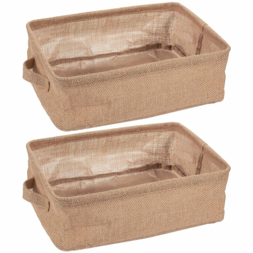 2 Pack Collapsible Linen Fabric Storage Bin Basket with Handle For Cloth Storage Perspective: front