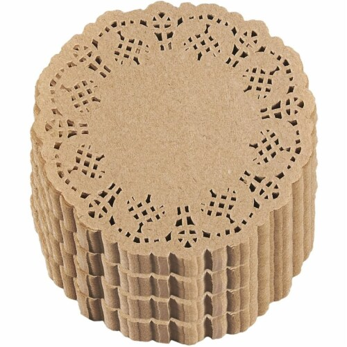 1000-Pack Decorative Lace Round Paper Doilies Placemats for Cakes - Brown, 4 Inches Perspective: front