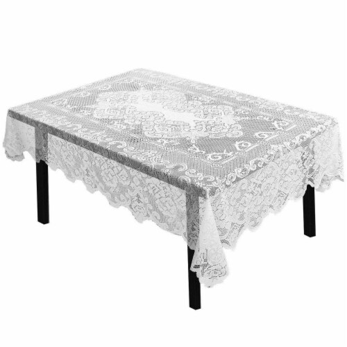 """White Floral Lace Rectangular Tablecloth for Wedding Party Banquet 54"""" x 71"""" Perspective: front"""