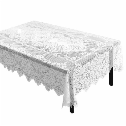 White Lace Rectangular Tablecloth with Floral Patterns for Dining Tables, 60 x 97 Inches Perspective: front