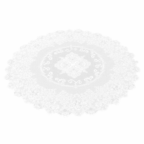 Juvale 59-Inch Round Decorative Lace Tablecloth with Floral Patterns, White Perspective: front