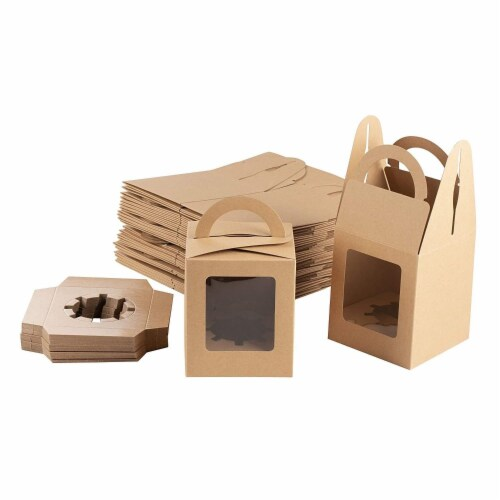 50-Pack Kraft Paper Cupcake Boxes with Clear Display Window, Brown, 3.7 x 4.2 x 3.7 Inches Perspective: front