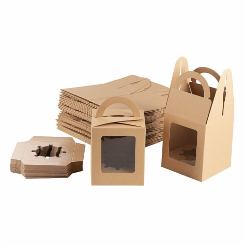 100-Pack Kraft Paper Cupcake Boxes with Clear Display Window, Brown, 3.7 x 4.2 x 3.7 Inches Perspective: front