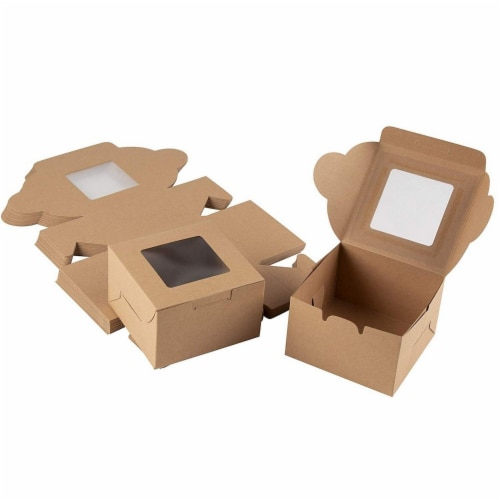 25 Pack Kraft Paper Cake Box with Display Window, 4 x 4 x 2.3 Inches, Brown Perspective: front
