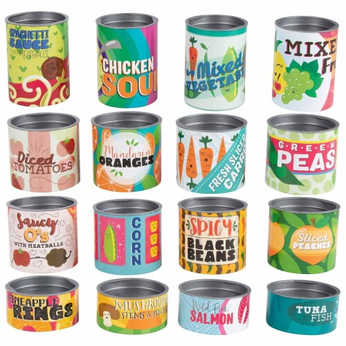 16-Piece Grocery Store Kids Pretend Play Stackable Cardboard Cans Toy Foods Perspective: front