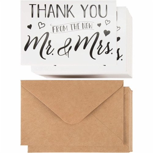 120 Pack Wedding Thank You Greeting Cards with Brown Envelopes in Bulk, 4x6 In. Perspective: front