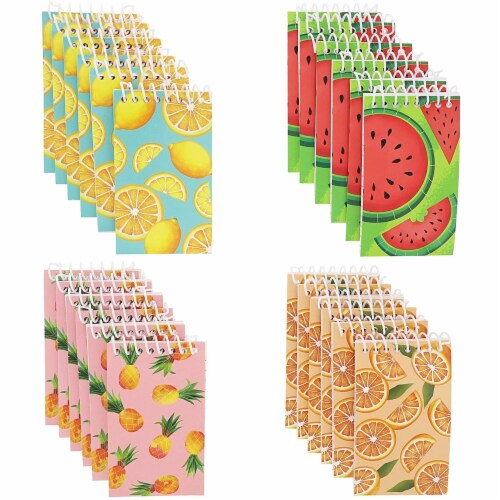 Juvale Mini Spiral Notebooks with 4 Fruit Designs (3 x 5 Inches, 24-Pack) Perspective: front