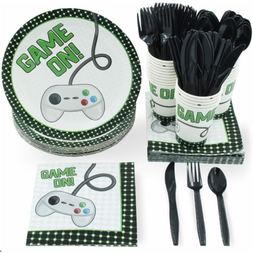 Vintage Video Game Party Dinnerware Bundle, Serves 24 Guests (144 Pieces) Perspective: front