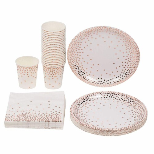 Disposable Dinnerware Set for 24  - Rose Gold Foil Dot Cutlery Party Supplies Perspective: front