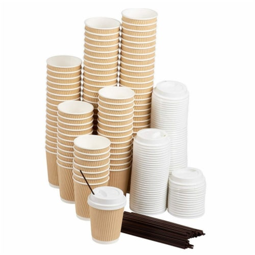 Disposable Coffee Cups Set - 50-Pack Kraft Paper 8-Ounce Insulated Ripple Cups Perspective: front