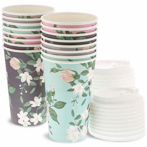24 Pack Vintage Floral Paper Insulated Coffee Cups with Lids, 4 Designs, 16 Ounces Perspective: front