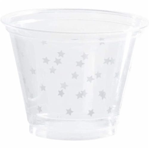 200-Pack Stars Print Plastic Drinking Cups Disposable for Party Birthday Wedding Perspective: front