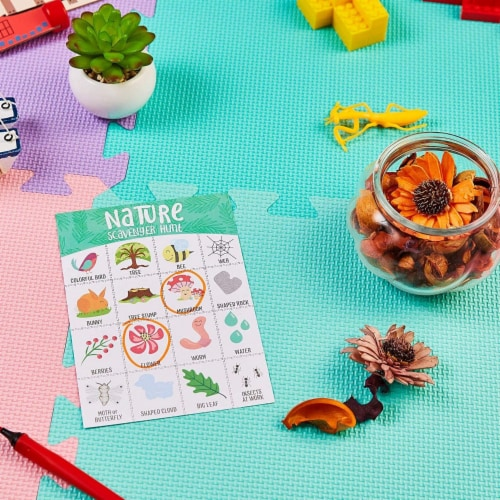 50x Nature Scavenger Hunt Game Hunt Set for Kids Childrens Outdoor Game Cards Perspective: front