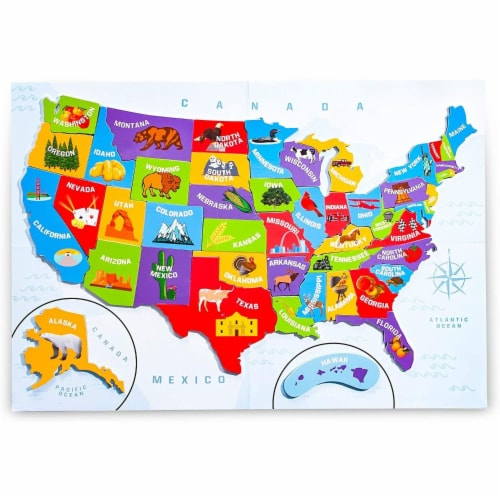 Juvale 44pcs Magnetic U.S. Puzzle Map for Kids, 19 x 13 Inches Perspective: front