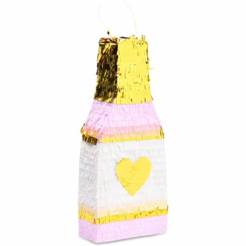 Champagne Bottle Party Pinata with Gold Foil (Pink, White, 16.5 x 7 x 3 Inches) Perspective: front