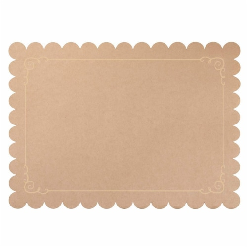 Juvale 100 Pack Disposable Placemats with Scallop Edge, Brown Kraft Paper (10 x 14 in) Perspective: front