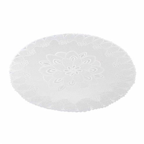 Round 71-Inch Decorative Lace Tablecloth with Floral Patterns for Birthday Parties, White Perspective: front