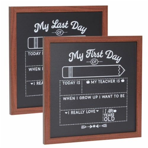 First and Last Day of School Chalkboard Sign, Teacher Classroom Supplies (2 Pieces) Perspective: front