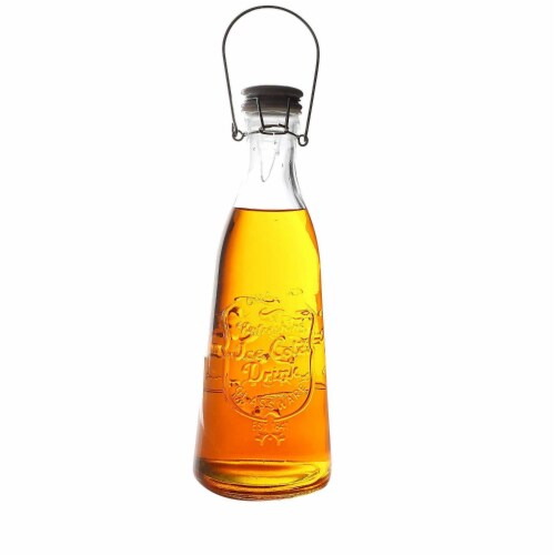 6Pcs Glass Bottles with Swing Top Lids 35.5oz for Vinegar Oil Liquid Honey Perspective: front