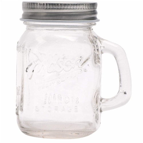 24 Pack Ball Clear Mason Jars 4 oz with Lids and Handles for Wedding Favors Perspective: front