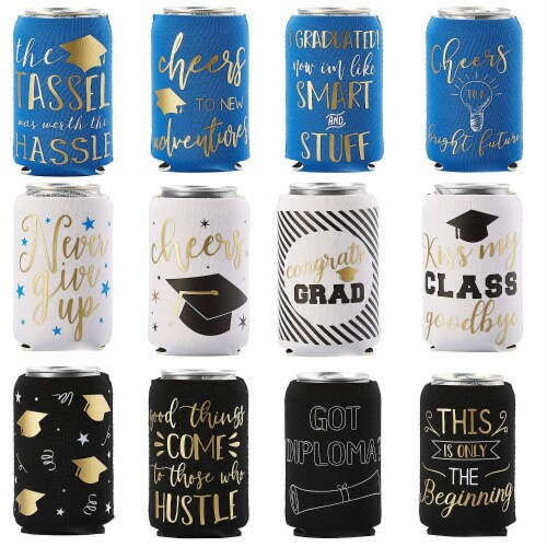12x Graduation Beer and Soda Can Sleeves Fun Grad Party Favors Gifts Fits 12 oz Perspective: front