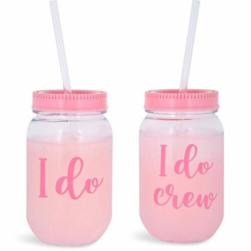 I Do Crew Plastic Mason Jar for Bachelorette Party and Bridal Shower (11+1) Perspective: front