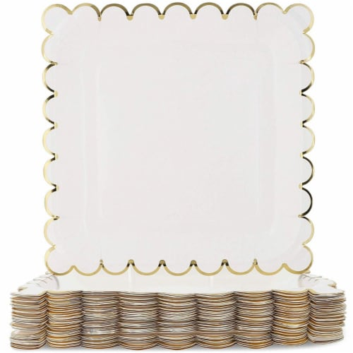 Juvale Blue Panda 48-Count White Party Paper Plates with Scalloped Gold Foil Edge, 9 Inches Perspective: front