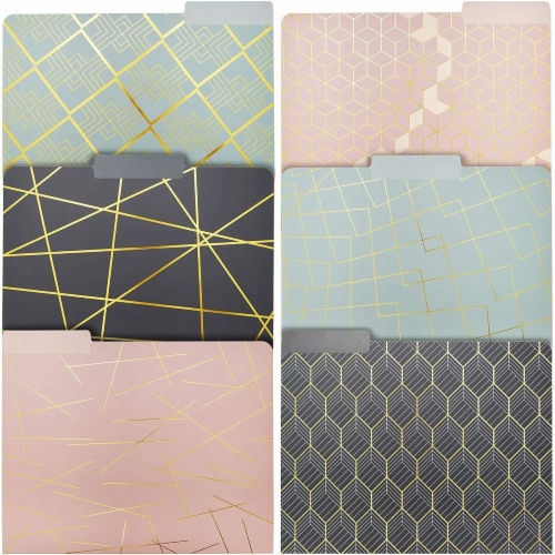 Geometric Decorative File Folders with 1/3 Cut Tab (11.5 x 9.5 In, 12 Pack) Perspective: front